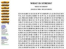 What is Stress? - Word Search Worksheet
