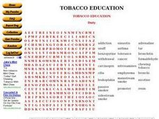 Tobacco Education: Word Search Worksheet
