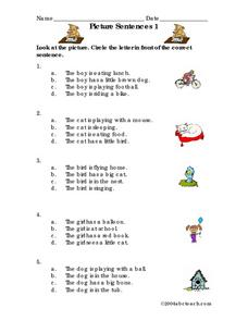 Picture Sentences 1 Worksheet