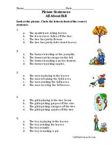 Picture Sentences About Fall Worksheet
