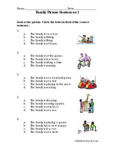 Family Picture Sentences 1 Worksheet