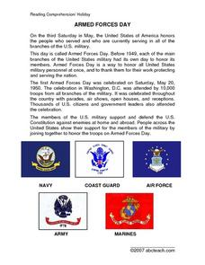 Armed Forces Day Reading Comprehension Passage Lesson Plan