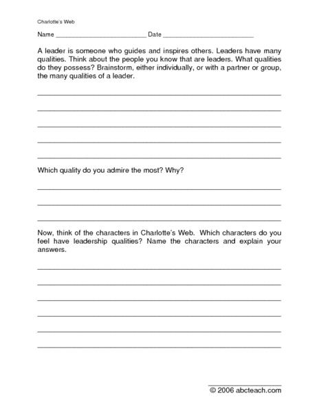 Charlottes web worksheets first grade
