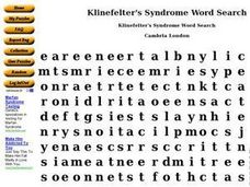 Klinefelter's Syndrome Word Search Worksheet