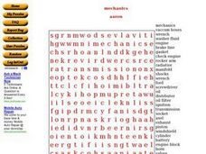Mechanics: Word Search Worksheet