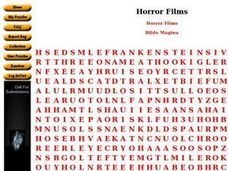 Horror Films: Word Search Worksheet