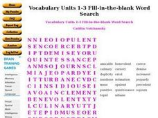 Vocabulary Units 1-3 Fill-in-the-blank Word Search Worksheet