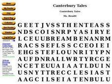 Canterbury Tales: Word Search Worksheet