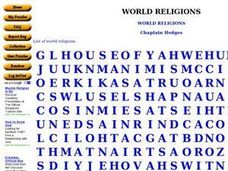 World Religions: Word Search Worksheet