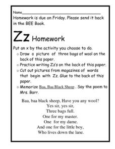 Homework for the Letter Z Worksheet