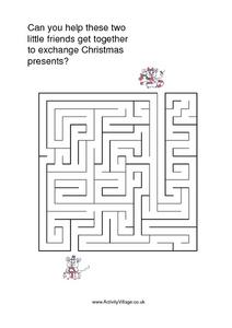 Friends At Christmas Maze Worksheet