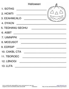 Halloween Unscramble And Make a Sentence Worksheet