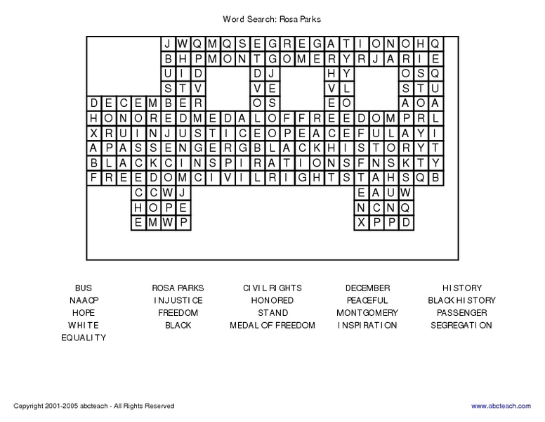 Word Search Rosa Parks 4th 6th Grade Worksheet – Rosa Parks Worksheet