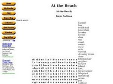 At the Beach: Word Search Worksheet