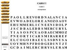 Cars!!!  Word Search. Worksheet