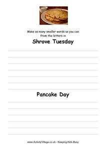 Shrove Tuesday- Pancake Day Worksheet