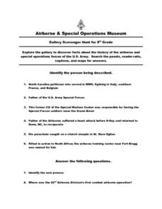 Airborne & Special Operations Museum- Grade 8 Worksheet