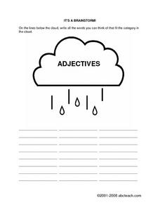 Brainstorm Adjectives Worksheet