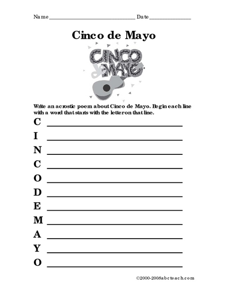 Mexico Acrostic Poem Worksheet For 3rd 4th Grade