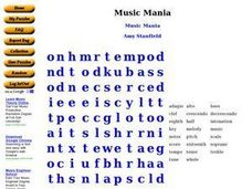 Music Mania Worksheet