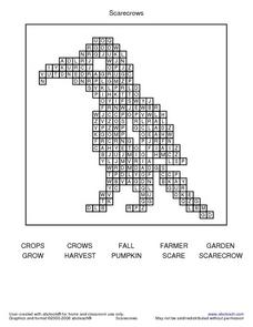Scarecrows Word Search Worksheet