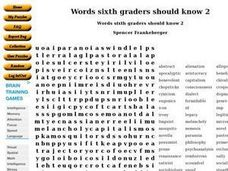 Words Sixth Graders Should Know 2 Worksheet