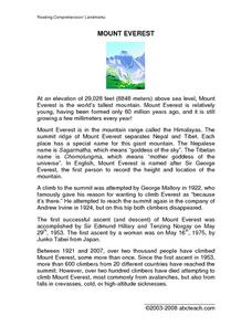 Mount Everest Reading Landmarks Worksheet