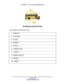It's Back to School Time Lesson Plan