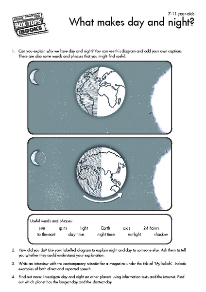 What Makes Day And Night Worksheet For 4th 5th Grade