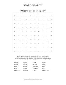 Word Search: Parts of the Body Worksheet