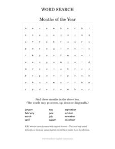 Word Search: Months of the Year Worksheet
