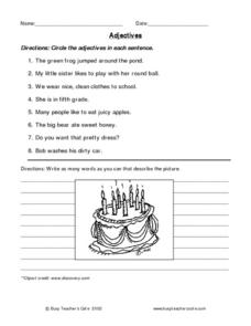 Adjectives (identifying, brainstorming) Worksheet