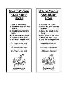 "How To Choose ""Just Right"" Books Worksheet"