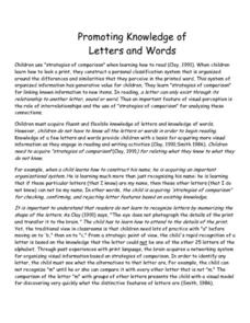 Promoting Knowledge of Letters and Words Lesson Plan