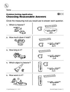 Choosing Reasonable Answers Worksheet