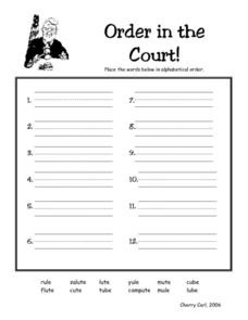 "Order in the Court! ""--ute"" Ending Lesson Plan"