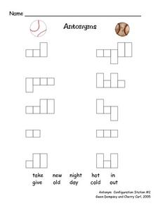 Antonyms Configuration Puzzle Worksheet
