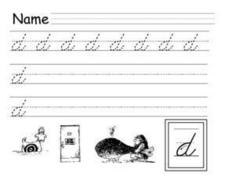 Cursive Letter D, Lower Case Lesson Plan