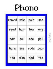 Phono Worksheet