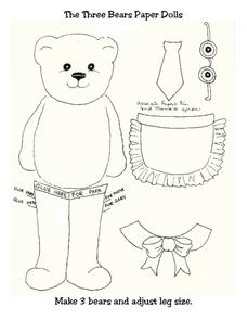 Three Bears Paper Dolls Worksheet