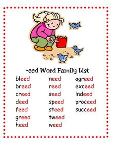 --eed Word Family List Lesson Plan