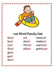 --oat Word Family List Lesson Plan