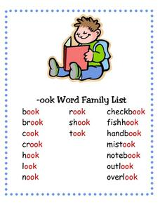 --ook Word Family List Lesson Plan