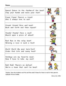 "Rhymes with words ending with ""eat"" Lesson Plan"