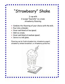 """Strawbeary"" Shake Worksheet"