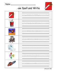 -aw Spell and Write Worksheet