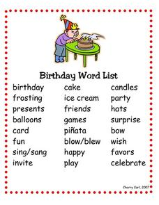 Birthday Word List Worksheet