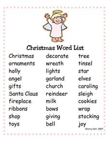 Christmas Word List Worksheet