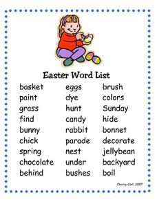 Easter Word List Worksheet