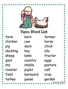 Farm Word List Worksheet